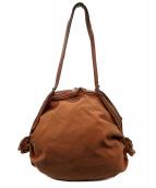 IL BISONTE(イルビゾンテ)の古着「キャンバス×レザーハンドバッグ」|ブラウン