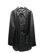 BANANA REPUBLIC(バナナリパブリック)の古着「90'S オールドレザーコート」 ブラック