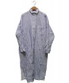 TICCA(ティッカ)の古着「スクエアビッグロングシャツ」|ブルー×ホワイト