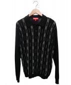 Supreme(シュプリーム)の古着「Vertical Stripe Knit L/S Polo」|ブラック×ベージュ