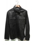 BURBERRY BLACK LABEL(バーバリーブラックレーベル)の古着「ラムレザーシャツジャケット」|ブラック