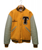 TENDERLOIN(テンダーロイン)の古着「ワッペンスタジャン」|イエロー×ベージュ