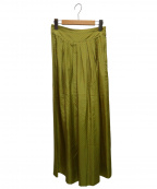SOULEIADO(ソレイアード)の古着「シルクプリントタックワイドパンツ」|イエロー