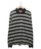()の古着「Striped L/S Polo」|グレーブラック