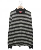 SUPREME(シュプリーム)の古着「Striped L/S Polo」|グレーブラック