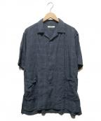 nestrobe confect(ネストローブ コンフェクト)の古着「リネンチェックオープンカラーシャツ」 ネイビー