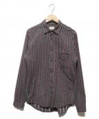 FRANK LEDER(フランクリーダー)の古着「ジャーマンフォークファブリックシャツ」 ボルドー×ブラック