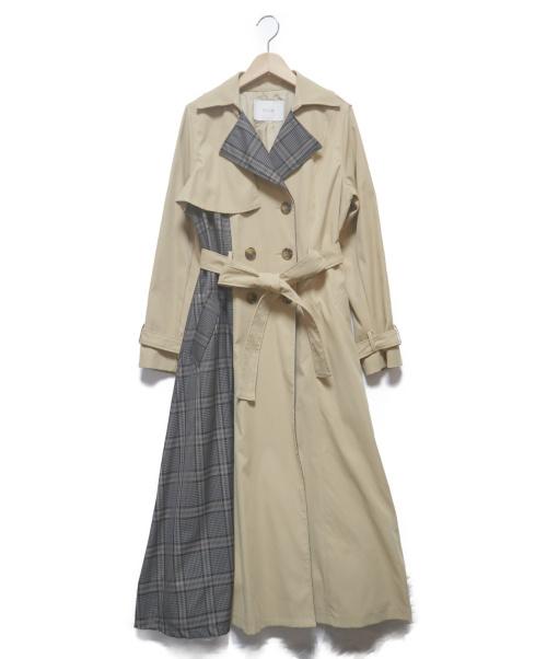 ECLIN(エクラン)ECLIN (エクラン) チェックプリーツトレンチコート ベージュ×グレー サイズ:FREEの古着・服飾アイテム