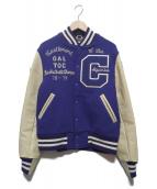 WAREHOUSE(ウエアハウス)の古着「ヴァーシティジャケット」|ブルー×アイボリー