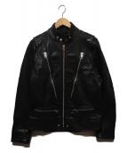 DIESEL(ディーゼル)の古着「HARDSTYLEジップレザーライダースジャケット」|ブラック