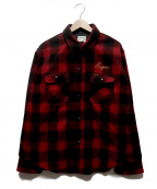 PHERROWS(フェローズ)の古着「チェーン刺繍ウールチェックシャツ」|レッド×ブラック