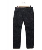 ()の古着「総柄ジャガードパンツ」|ネイビー×ブラック
