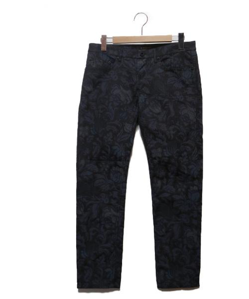 BURBERRY(バーバリー)BURBERRY (バーバリー) 総柄ジャガードパンツ ネイビー×ブラック サイズ:31(下記参照)の古着・服飾アイテム