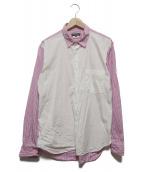 ()の古着「切替ストライプシャツ」|ピンク×ホワイト
