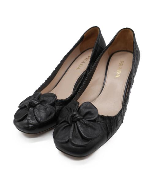 PRADA(プラダ)PRADA (プラダ) フラワーモチーフパンプス ブラック サイズ:36 1/2(下記参照)の古着・服飾アイテム