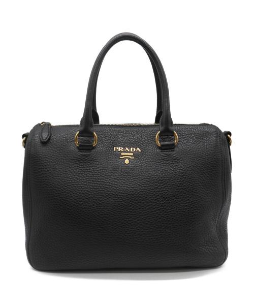 PRADA(プラダ)PRADA (プラダ) VITELLO PHENIX レザーハンドバッグ ブラックの古着・服飾アイテム