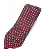 ()の古着「総柄ネクタイ」|レッド×グレー