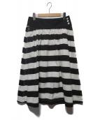 ()の古着「ボーダーフレアスカート」|ブラック×ホワイト