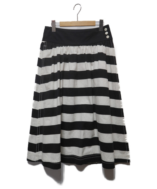 tricot COMME des GARCONS(トリココムデギャルソン)tricot COMME des GARCONS (トリココムデギャルソン) ボーダーフレアスカート ブラック×ホワイト サイズ:Mの古着・服飾アイテム