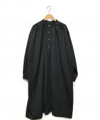 Bohemians(ボヘミアンズ)の古着「バンドカラーシャツワンピース」 ブラック