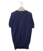 THIBAULT VAN DER STRAETE(ティボー・ヴァン・ダル・ストラット)の古着「S/Sクルーネックニット」|ブルー