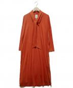 Sybilla(シビラ)の古着「ボウタイウールワンピース」 オレンジ