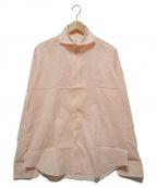 finamore(フィナモレ)の古着「ストライプワイドカラーシャツ」 オレンジ