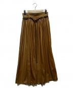 Spick and Span Noble(スピックアンドスパンノーブル)の古着「レザータッチグロッシーギャザーフレアスカート」|ブラウン