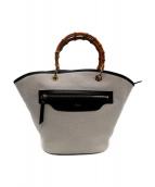 violadoro(ヴィオラドーロ)の古着「バンブーハンドル2WAYバッグ」|アイボリー×ブラック