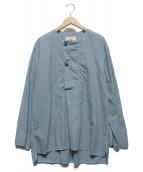 ()の古着「ノーカラープルオーバーシャツ」|ブルー