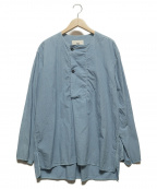 OUTIL(ウティ)の古着「ノーカラープルオーバーシャツ」 ブルー