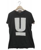 ()の古着「UロゴTシャツ」 ブラック