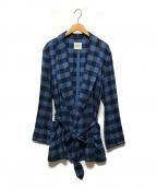 TAKAHIROMIYASHITA TheSoloIst.(タカヒロミヤシタザソロイスト)の古着「robe shirts -short-」|ブルー×ネイビー