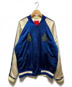 Denham()の古着「鶴刺繍シバーシブルスカジャン」 ブルー×アイボリー