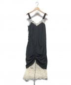 Lautashi(ラウタシー)の古着「レイヤードキャミソールワンピース」 ブラック×ホワイト