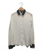 ARMANI JEANS(アルマーニジーンズ)の古着「シルクシャツ」|ホワイト×グレー