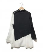 UN3D.(アンスリード)の古着「フレアドッキングニットトップス」 ブラック×ホワイト