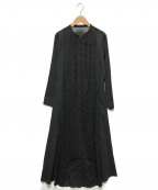 bulle de savon(ビュル デ サボン)の古着「60ワッシャーお花ダイヤ刺繍前開きワンピース」|ブラック