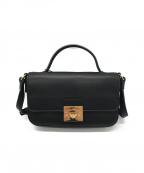 EMPORIO ARMANI(エンポリオアルマーニ)の古着「レザーショルダーバッグ」|ブラック