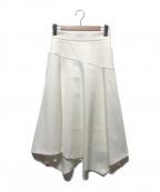 ANAYI(アナイ)の古着「ダブルクロスアシメフレアスカート」|ホワイト