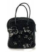 ()の古着「フラワーモチーフワイヤーハンドバッグ」|ブラック