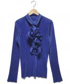 ISSEY MIYAKE(イッセイミヤケ)の古着「ボウタイプリーツカットソー」|ブルー