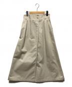 DANTON(ダントン)の古着「コットンツイルAラインラップスカート」|アイボリー