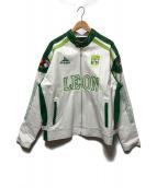 ()の古着「レーシングレザージャケット」|ホワイト×グリーン