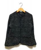 ()の古着「ノーカラーツイードジャケット」 ブラック