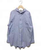 Gymphlex(ジムフレックス)の古着「マルチストライプオーバーサイズシャツ」 ブルー