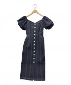 HER LIP TO(ハーリップトゥ)の古着「パフスリーブミディドレスデニムワンピース」|インディゴ