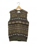 Jamieson's Knitwear(ジャミーソンズニットウェア)の古着「ノルディック柄ニットベスト」|グリーン