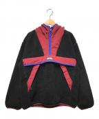 X-GIRL(エックスガール)の古着「ボアアノラックパーカー」|ブラック×レッド