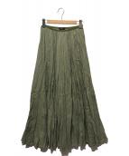 ()の古着「リネンプリーツスカート」|グリーン